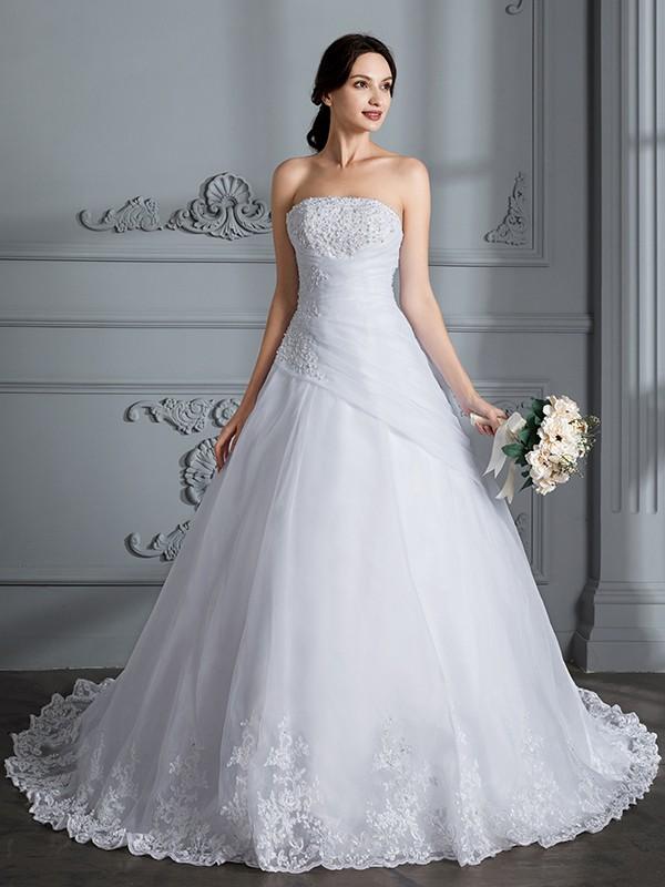 Ball Gown Strapless Sleeveless Court Train Organza Wedding Dresses