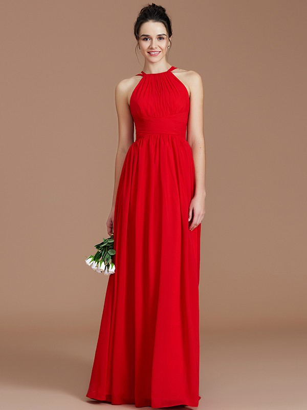 A-Line/Princess Ruched Halter Sleeveless Floor-Length Chiffon Bridesmaid Dresses