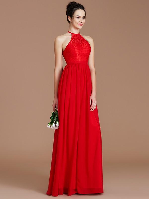 A-Line/Princess Lace Halter Sleeveless Floor-Length Chiffon Bridesmaid Dresses