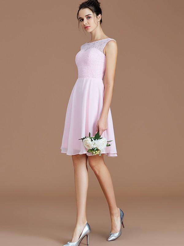 A-Line/Princess Lace Bateau Sleeveless Short/Mini Chiffon Bridesmaid Dresses