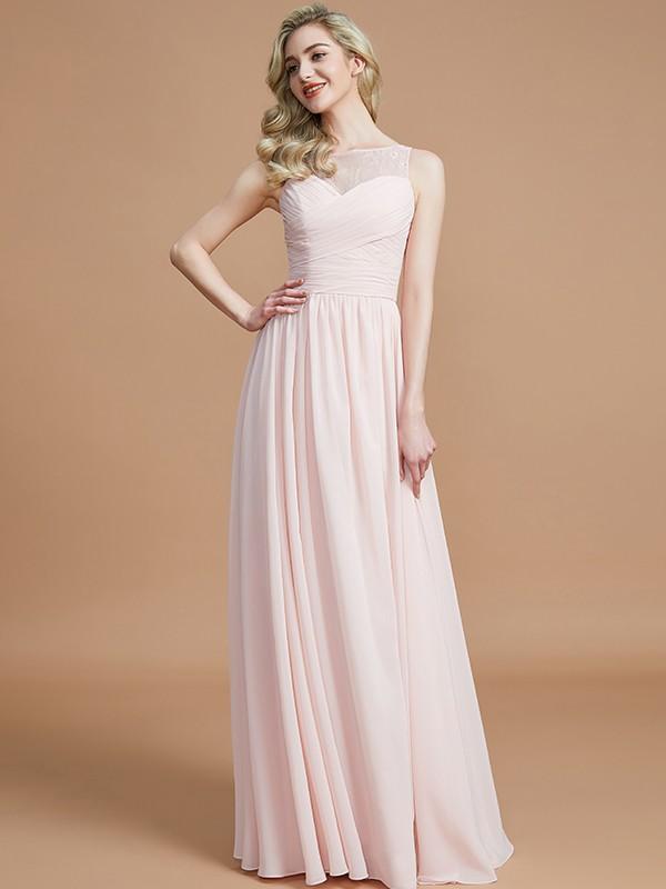 A-Line/Princess Ruched Bateau Sleeveless Floor-Length Chiffon Bridesmaid Dresses