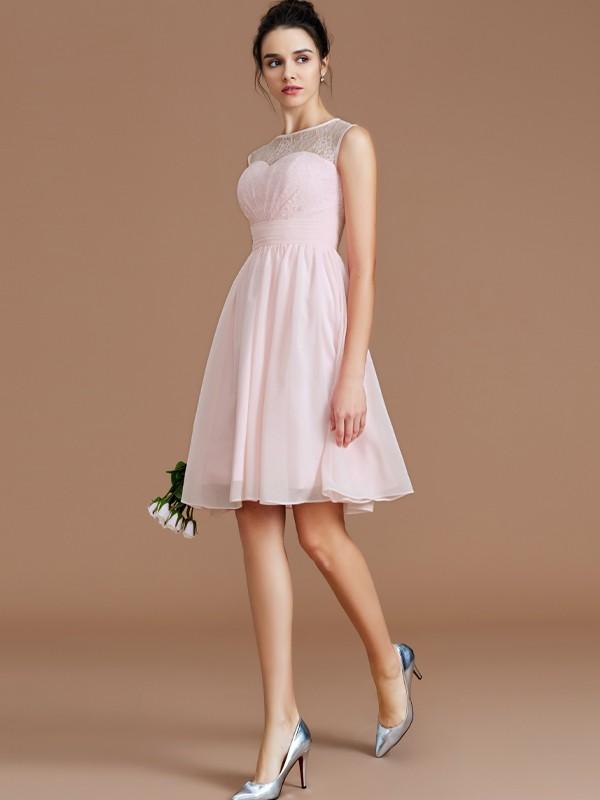 A-Line/Princess Lace Sweetheart Sleeveless Short/Mini Chiffon Bridesmaid Dresses
