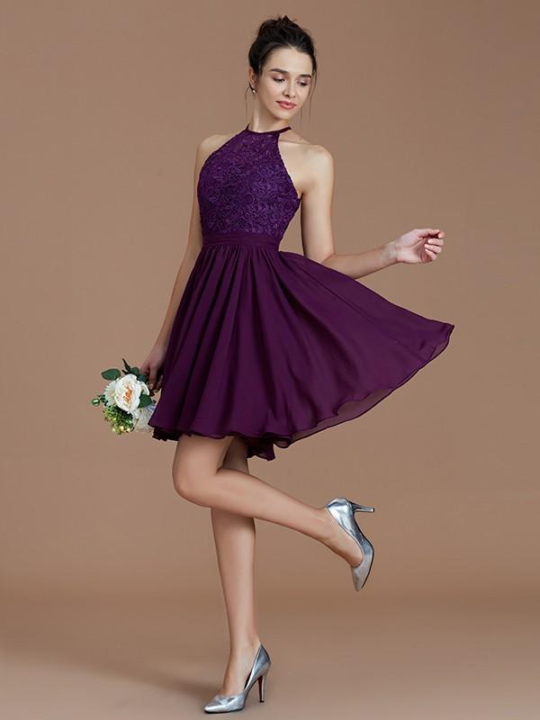 A-Line/Princess Lace Halter Sleeveless Short/Mini Chiffon Bridesmaid Dresses