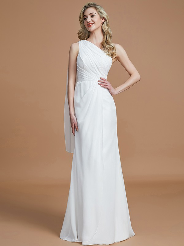 Sheath/Column One-Shoulder Sleeveless Floor-Length Chiffon Bridesmaid Dresses