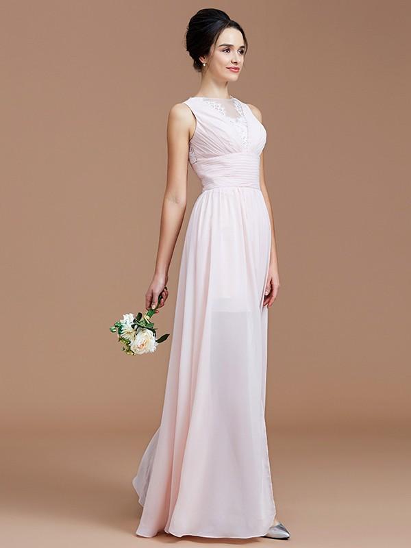 A-Line/Princess Ruched Jewel Sleeveless Floor-Length Chiffon Bridesmaid Dresses