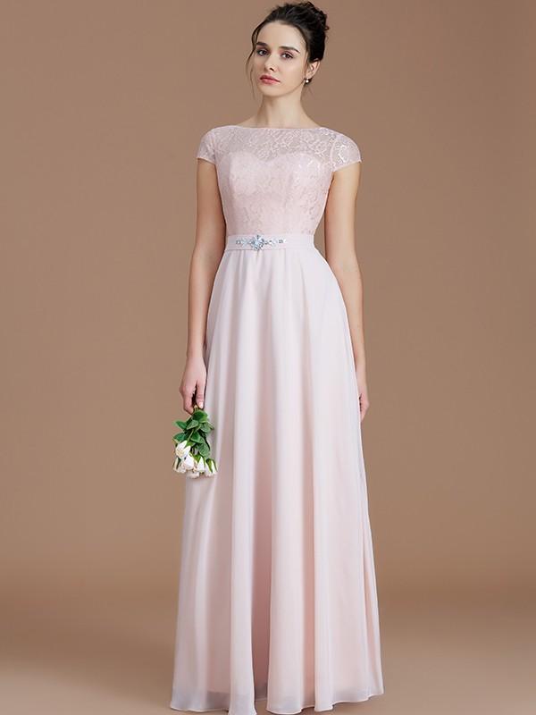A-Line/Princess Lace Bateau Sleeveless Floor-Length Chiffon Bridesmaid Dresses