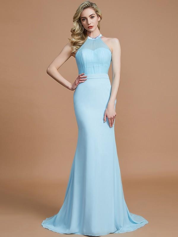 Trumpet/Mermaid Scoop Sleeveless Sweep/Brush Train Chiffon Bridesmaid Dresses