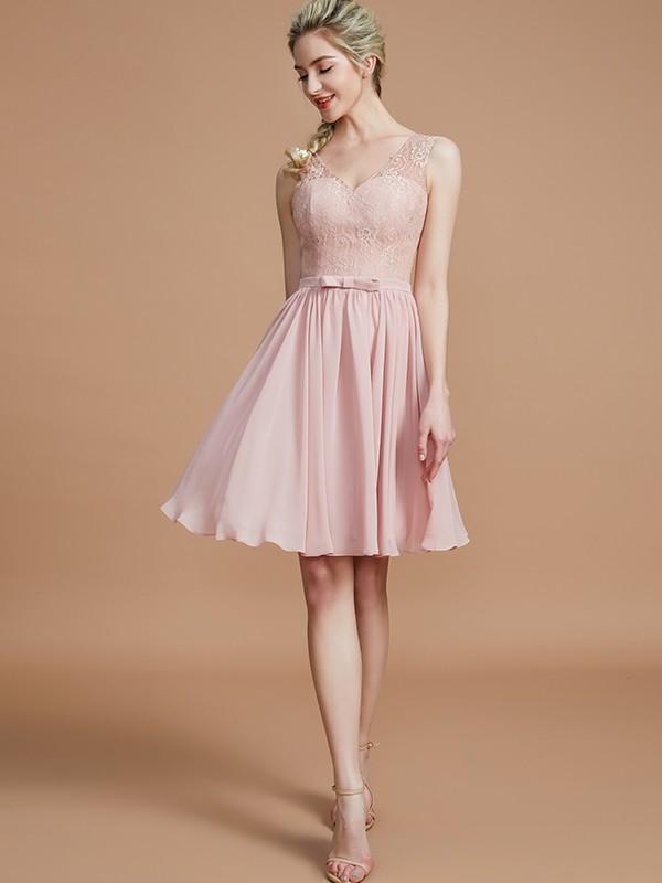 A-Line/Princess Lace V-neck Sleeveless Short/Mini Chiffon Bridesmaid Dresses