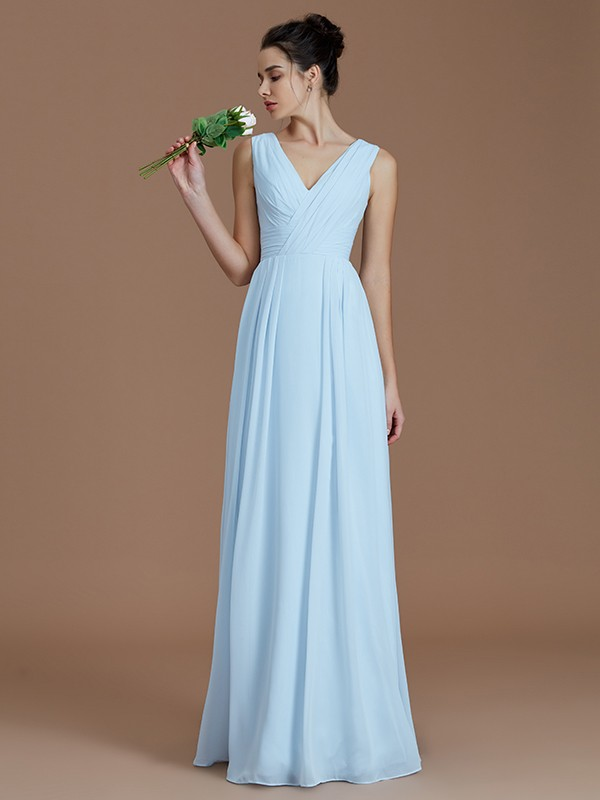 A-Line/Princess Ruched V-neck Sleeveless Floor-Length Chiffon Bridesmaid Dresses