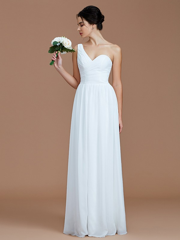 A-Line/Princess Ruched One-Shoulder Sleeveless Floor-Length Chiffon Bridesmaid Dresses