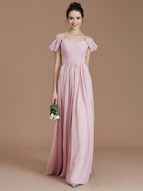 A-Line/Princess Ruched Off-the-Shoulder Sleeveless Floor-Length Chiffon Bridesmaid Dresses