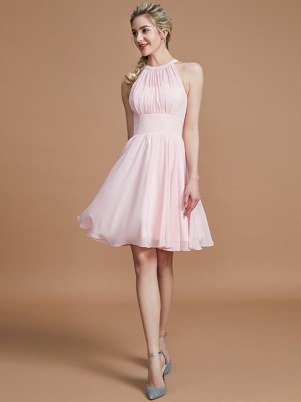 A-Line/Princess Scoop Sleeveless Knee-Length Chiffon Bridesmaid Dresses
