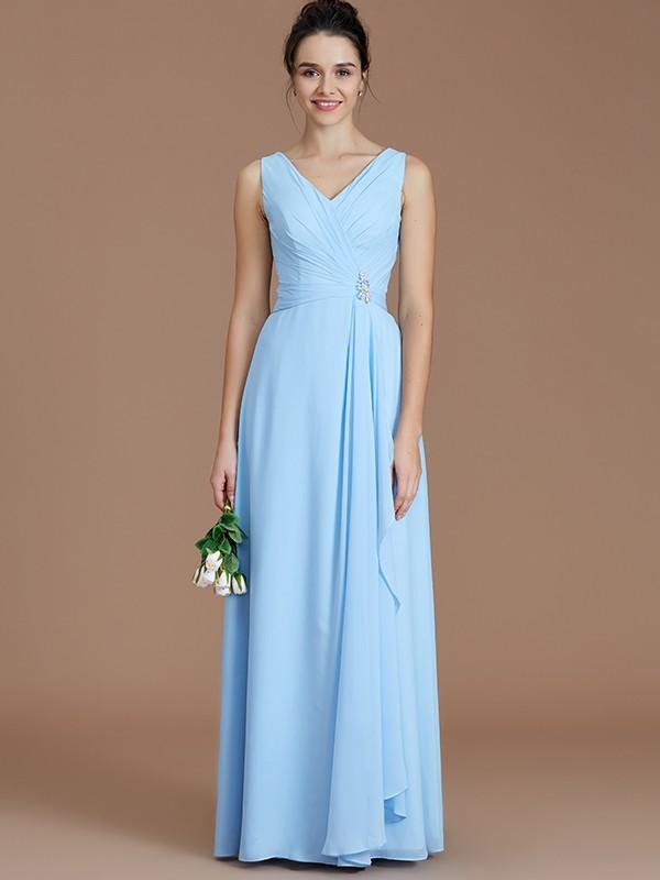 A-Line/Princess Ruched V-neck Sleeveless Floor-Length Chiffon Bridesmaid Dresses