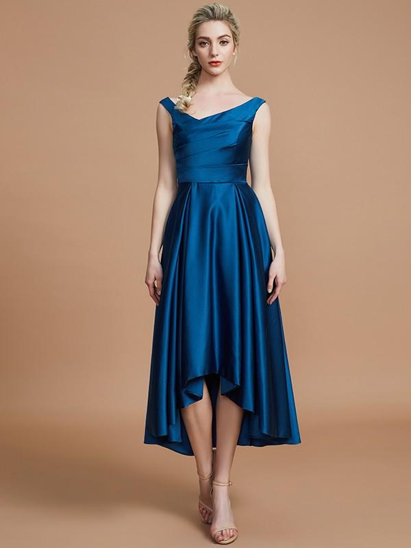 A-Line/Princess V-neck Sleeveless Asymmetrical Satin Bridesmaid Dresses