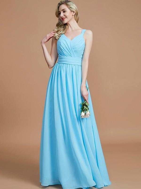 A-Line/Princess V-neck Sleeveless Floor-Length Chiffon Bridesmaid Dresses