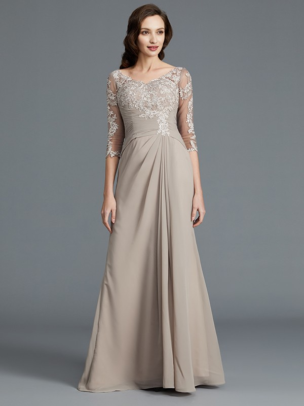 A-Line/Princess Applique Scoop 1/2 Sleeves Floor-Length Chiffon Mother of the Bride Dresses