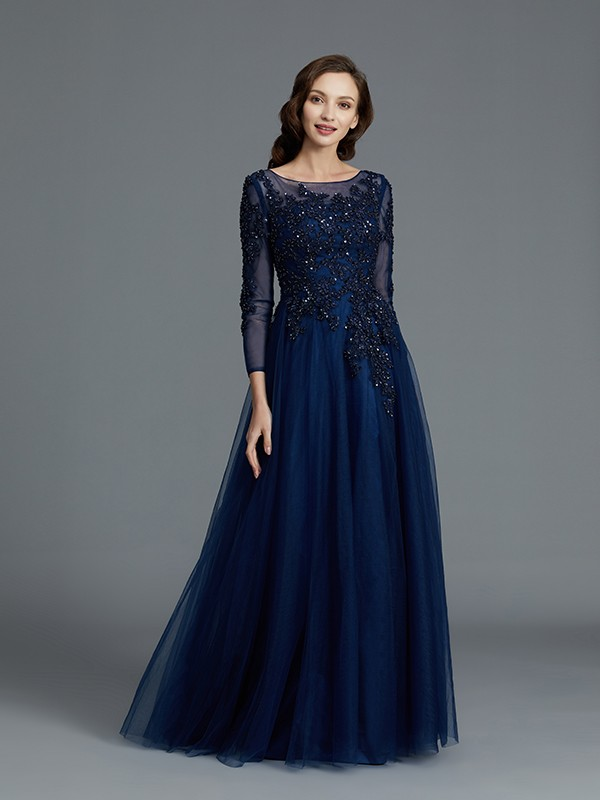 A-Line/Princess Scoop Long Sleeves Floor-Length Tulle Mother of the Bride Dresses