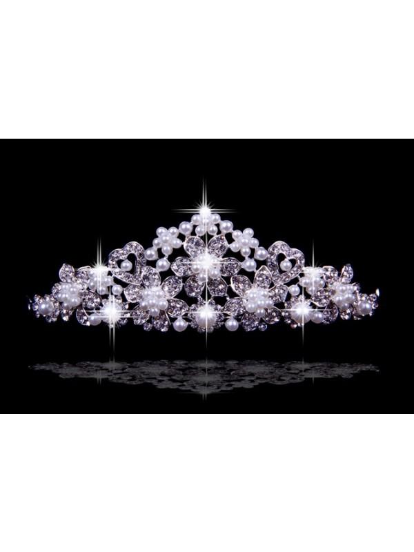 Bright Czech Rhinestones Flowers Pearls Wedding Headpieces