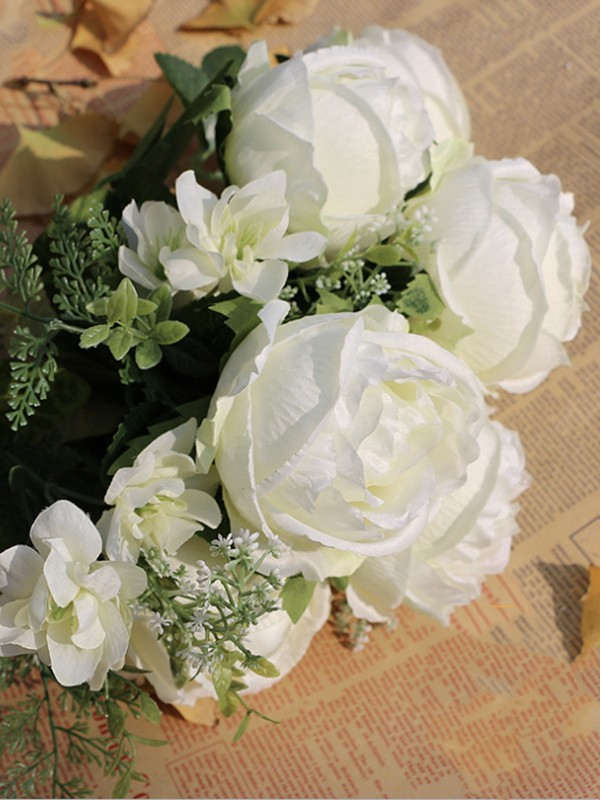 Delicate Free-Form Silk Flower Bridal Bouquets