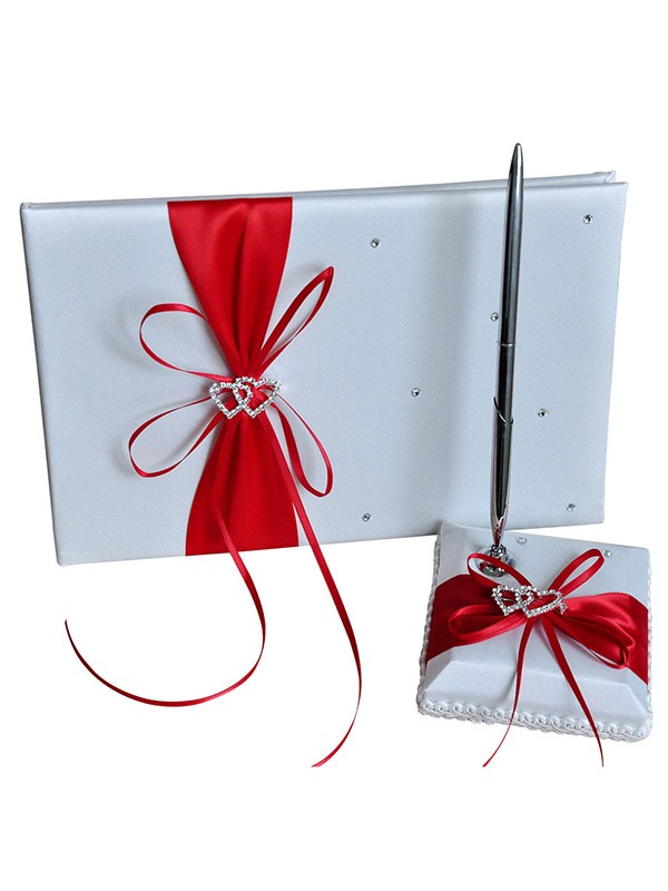 Gorgeous Cloth With Rhinestone Guestbook & Pen Set