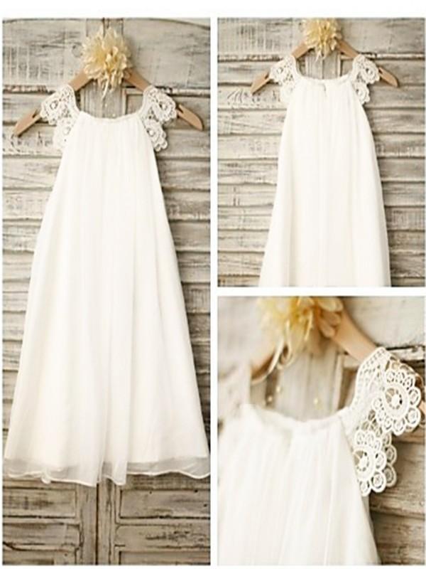 A-Line/Princess Lace Scoop Sleeveless Tea-Length Chiffon Flower Girl Dresses