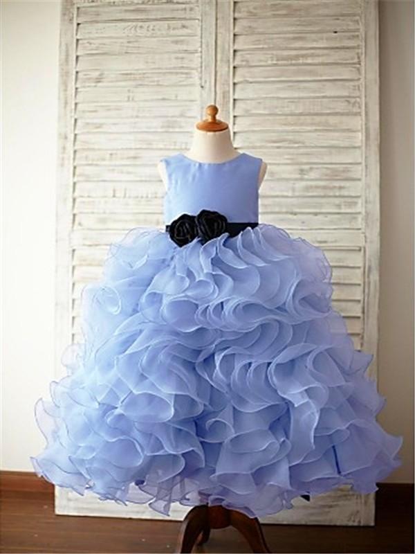 Ball Gown Sleeveless Scoop Ruffles Floor-Length Organza Flower Girl Dresses