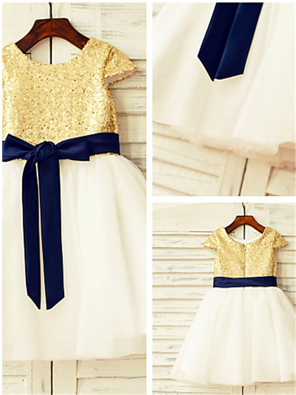 A-Line/Princess Sequin Scoop Short Sleeves Knee-Length Tulle Flower Girl Dresses