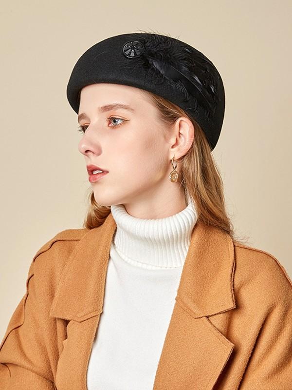 Ladies' Elegant Wool Feather Adjustable Beret Hats