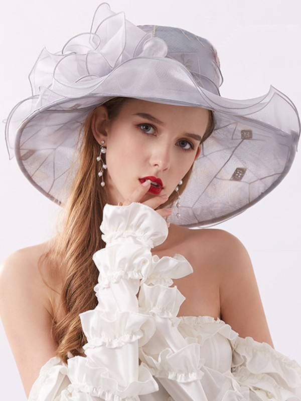 Ladies' Special Organza Silk Flower Adjustable Beach/Sun Hats