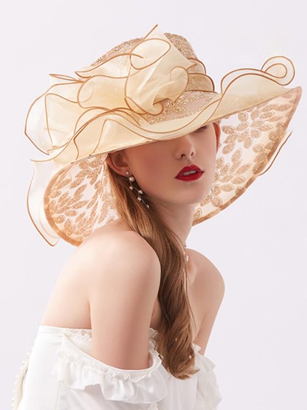 Ladies' Glamourous Organza Silk Flower Adjustable Kentucky Derby Hats/Tea Party Hats