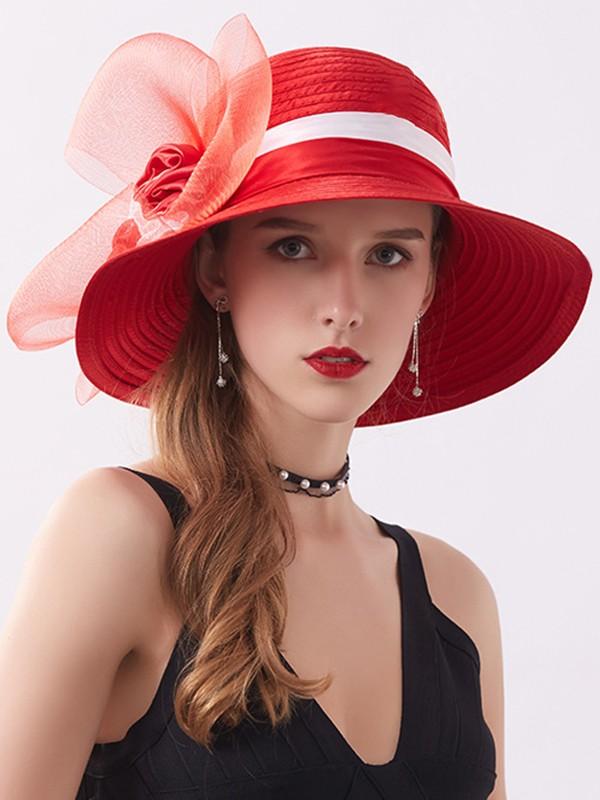 Ladies' Nice Silk Flower Adjustable Beach/Sun Hats