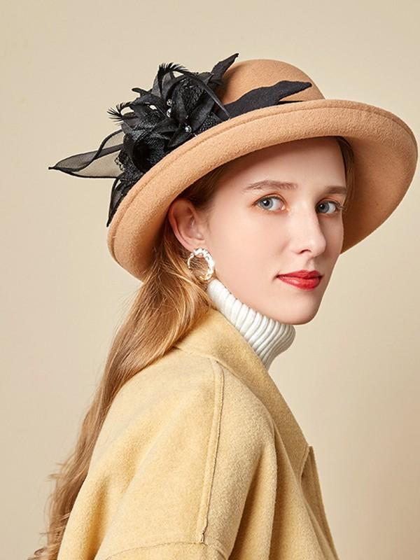 Ladies' Special Wool Silk Flower Floppy Hats