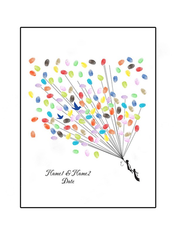 Charming Personalized Canvas Fingerprint Guestbook With Ink Pad