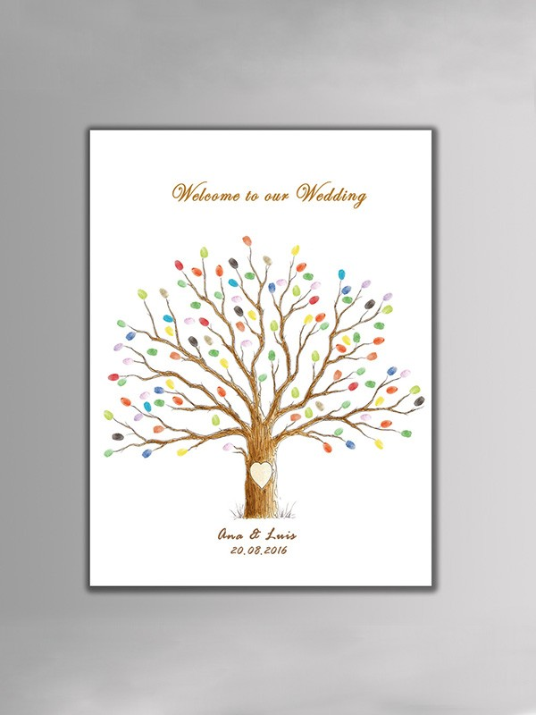 Excellent Personalized Canvas Fingerprint Guestbook With Ink Pad