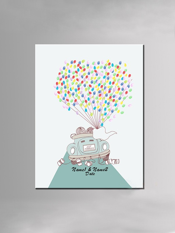 Gorgeous Personalized Canvas Fingerprint Guestbook With Ink Pad