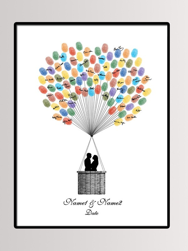 Splendid Personalized Canvas Fingerprint Guestbook With Ink Pad