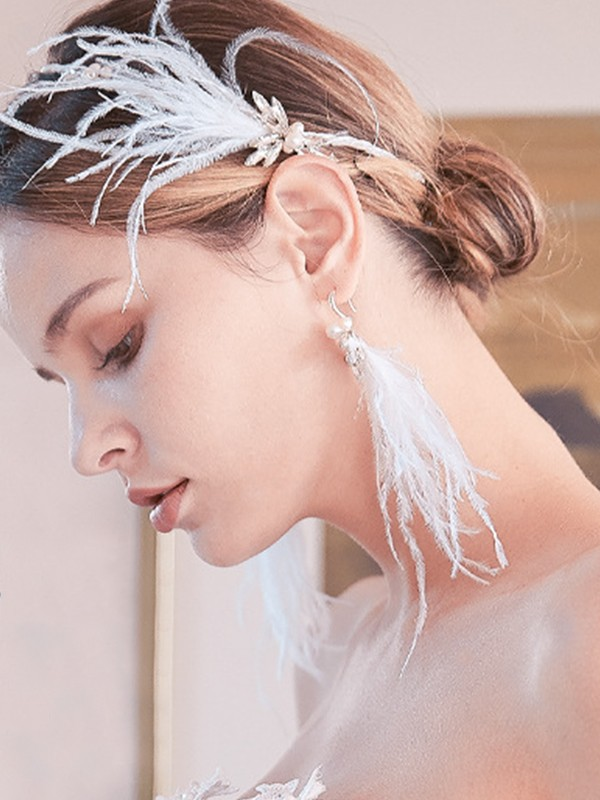 Awesome Alloy With Rhinestone/Feather Earrings For Women