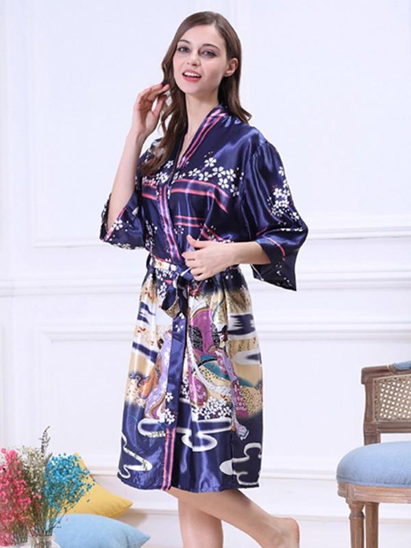 Silk like Satin Print Bride Bridesmaid Mom Robes