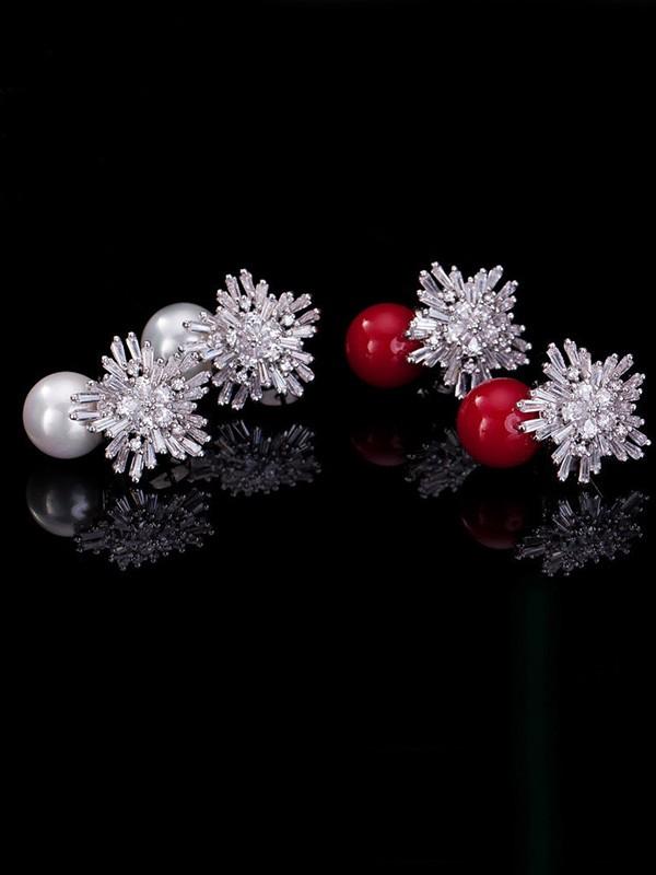 Fancy Copper With Imitation Pearl Hot Sale Earrings