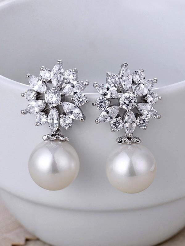 Graceful Copper With Zircon Imitation Pearl Earrings