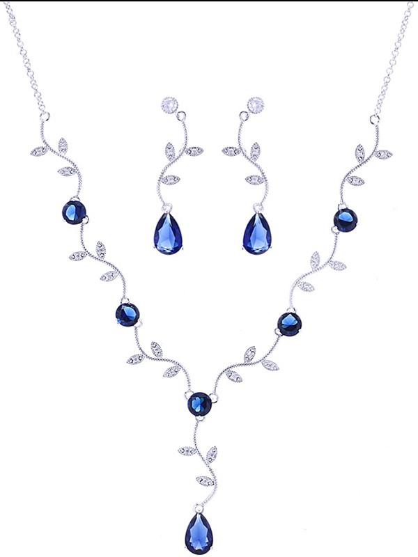 Brilliant Copper With Zircon Jewelry Sets For Ladies