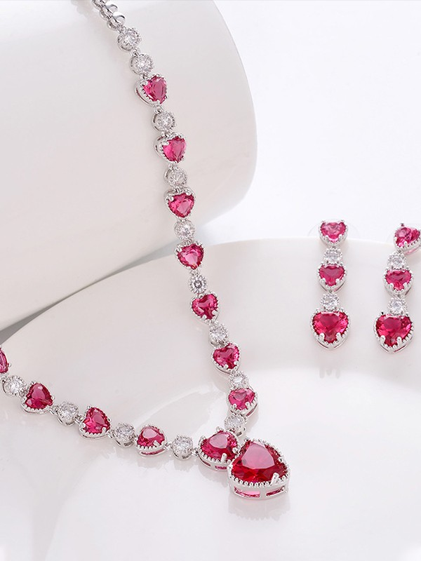 Luxurious Copper With Zircon Jewelry Sets For Ladies