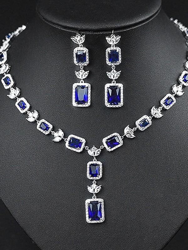 Elegant Copper With Zircon Jewelry Sets For Ladies