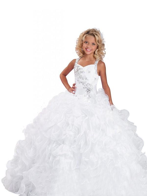 Ball Gown Beading Straps Sleeveless Floor-Length Organza Flower Girl Dresses