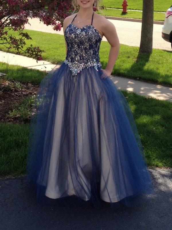 Ball Gown Beading Halter Sleeveless Floor-Length Tulle Plus Size Dresses