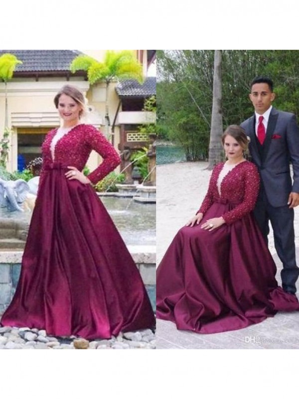 A-Line/Princess Beading V-neck Long Sleeves Sweep/Brush Train Satin Plus Size Dresses