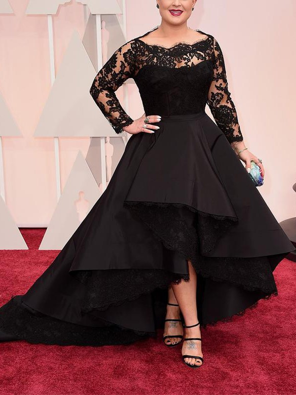 A-Line/Princess Lace Bateau Long Sleeves Asymmetrical Satin Plus Size Dresses