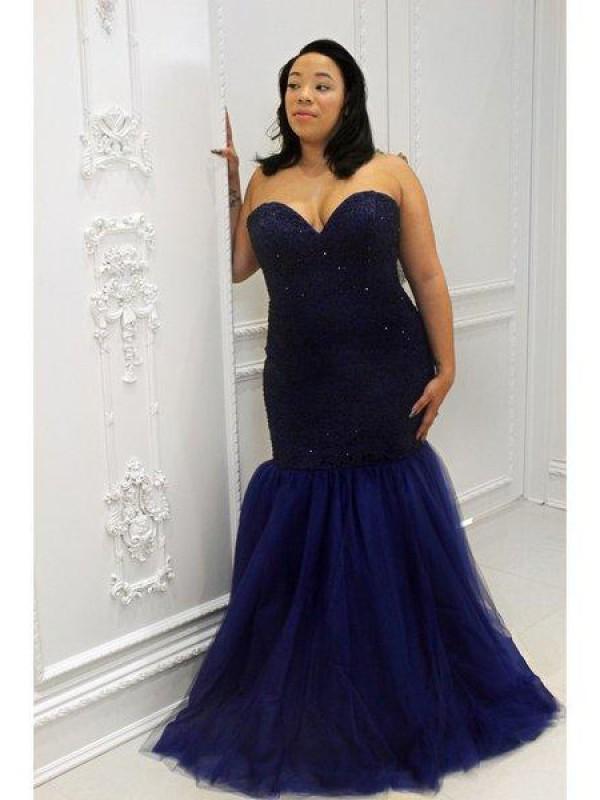 Trumpet/Mermaid Sequin Sweetheart Sleeveless Floor-Length Tulle Plus Size Dresses