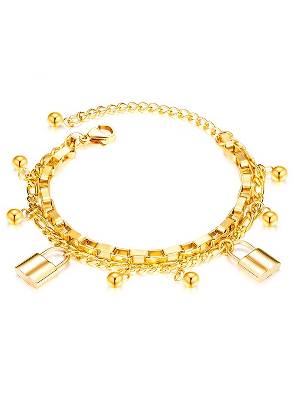 Attractive Titanium With Lock Chain Bracelets For Women