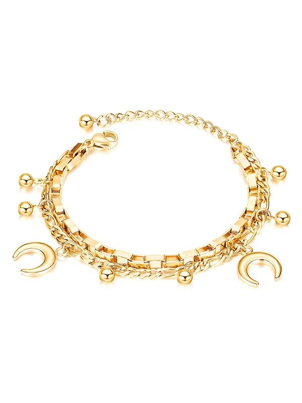 Brilliant Titanium With Moon Chain Bracelets For Women